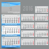 Vector calendar 2016 - Planner for three month. Includes space for photo and text in ECO style Stock Photography