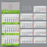 Vector calendar 2016 - Planner for three month. Includes space for photo and text in ECO style Stock Photos
