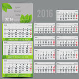 Vector calendar 2016 - Planner for three month. Includes space for photo and text in ECO style Royalty Free Stock Image