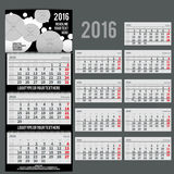Vector calendar 2016 - Planner for three month. Includes space for your photo and text in black and white bubbles style Stock Photos