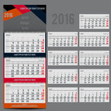 Vector calendar 2016 - Planner for three month Royalty Free Stock Photo