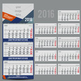 Vector calendar 2016 - Planner for three month Royalty Free Stock Photos