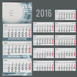 Vector calendar 2016 - Planner for three month Stock Photos