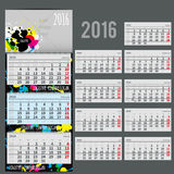 Vector calendar 2016 - Planner for three month. Includes space for yur photo and text with colorful blots can be used for art companies, creative people or vector illustration