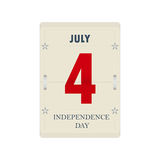 Vector calendar's sheet for Independence Day. Design for US Independence Day. Web banner for US Independence Day.  on white calendar with July 4 date Stock Photography