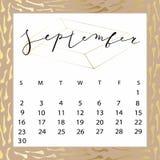 Vector calendar for September 2018. Hand drawn letters for calendar design Royalty Free Stock Photo
