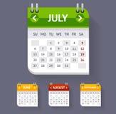 Vector Calendar Set Flat Design Royalty Free Stock Images