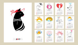 Vector calendar set for 2017 year in line art and contour style. Sunday start, English. Funny cats with heart, wing, cloud, kitten, meditation . Creative print Royalty Free Stock Images