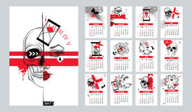 Vector calendar set for 2017 year Stock Photography