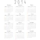 Vector calendar for 2014. Simple vector calendar for 2014 Stock Photos