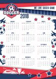 Vector calendar 2018 for soccer or football. Soccer sport or football game 2018 calendar template. Vector design of arena or football stadium with soccer ball Vector Illustration
