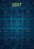 Vector calendar for 2017 in the space style.. Calendar with the image of the constellations in the night starry sky. Elements for creative design ideas of your Royalty Free Stock Photos