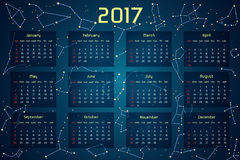 Vector calendar for 2017 in the space style. Calendar with the image of the constellations in the night starry sky. Elements for creative design ideas of your Royalty Free Stock Images