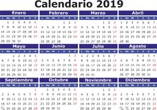 Spanish Calendar 2019 horizontal Royalty Free Stock Photography