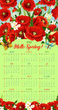 Vector calendar 2018 of spring poppy flowers Stock Photography