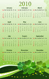 Vector calendar for St. Patricks Day. Vector illustration of calendar for St. Patricks Day for 2010 year, starting from Sundays royalty free illustration