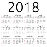 Vector calendar 2018, Sunday Royalty Free Stock Image