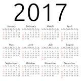 Vector calendar 2017, Sunday. Simple 2017 year calendar, week starts on Sunday, EPS 8 vector Stock Image
