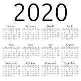 Vector calendar 2020, Sunday. Simple 2020 year calendar, week starts on Sunday, EPS 8 vector Stock Photography