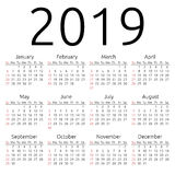 Vector calendar 2019, Sunday Royalty Free Stock Photo