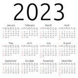 Vector calendar 2023, Sunday Royalty Free Stock Images