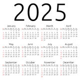 Vector calendar 2025, Sunday Stock Images