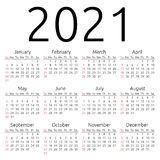 Vector calendar 2021, Sunday Stock Photo