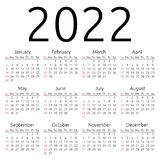 Vector calendar 2022, Sunday Stock Images