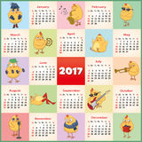 Vector calendar 2017 with the symbol of the year. Set of active chickens Royalty Free Stock Image
