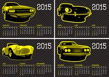 Vector calendar template with cars carbon background Royalty Free Stock Photos