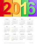 Vector calendar of 2016. Template design Royalty Free Stock Image