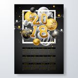 Vector Calendar 2018 Template Illustration with Gold 3d Number, Christmas Ball and Light Garland on Black Background Stock Image