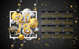 Vector Calendar 2018 Template Illustration with Gold 3d Number, Christmas Ball and Light Garland on Black Background. Week Starts on Sunday Stock Photo