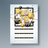 Vector Calendar 2018 Template Illustration with Gold 3d Number, Christmas Ball and Light Garland on Shiny Background. Week Starts on Sunday Royalty Free Stock Images