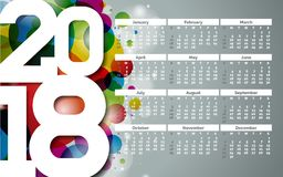 Vector Calendar 2018 Template Illustration with White Number on Abstract Colorful Background. Week Starts on Sunday. Vector Calendar 2018 Template Illustration Stock Photo