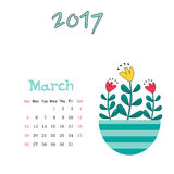 Vector calendar template for March 2017 with cute vase of flowers. Vector nice calendar template for March 2017 Stock Images