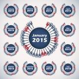 Vector calendar 2015 template. Vector rounded calendar 2015 template for design Royalty Free Stock Photography