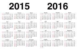 Vector calendar template. Vector 2015, 2016 Calendar templates Royalty Free Stock Photography