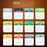 Vector calendar template 2016. Calendar for 2016 on Wooden Background. Week Starts Sunday. Vector Template with seasons. For web and print design. Vector Stock Image