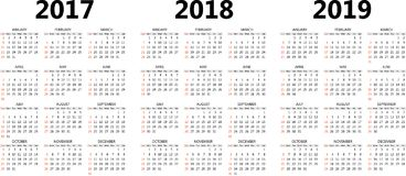 Vector calendar templates 2017, 2018, 2019 Royalty Free Stock Photo