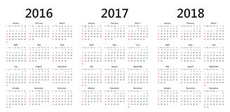 Vector calendar templates 2016, 2017, 2018 Stock Photos