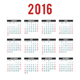 Vector  2016 Calendar templates. A set of vector calendar the year 2016 Stock Photos