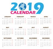 Vector calendar templates 2019. With Additional ai 10 fomat on white background stock illustration