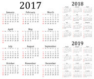 2017, 2018 and 2019 vector calendar Royalty Free Stock Photos