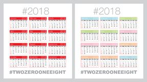 Vector calendar for 2018 stock photography
