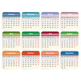 Vector calendar 2014. Vector EPS 10. Vector calendar 2014. EPS 10 vector. The colored blocks are labeled by month of holidays and weekends Stock Photos