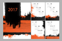 Vector calendar for 2017. Vertical 2017 vector grungy calendar design with cover and 4 pages. Elements for your work. Eps10 Stock Illustration