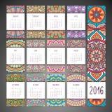 Vector Calendar 2016. Calendar 2016. Vintage decorative elements. Ornamental floral business cards, oriental pattern, vector illustration Stock Photo