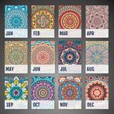 Vector Calendar 2016. Calendar 2016. Vintage decorative elements. Ornamental floral business cards, oriental pattern, vector illustration Royalty Free Stock Photos
