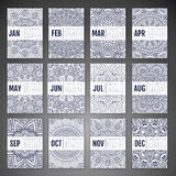 Vector Calendar 2016. Calendar 2016. Vintage decorative elements. Ornamental floral business cards, oriental pattern, vector illustration Royalty Free Stock Photo